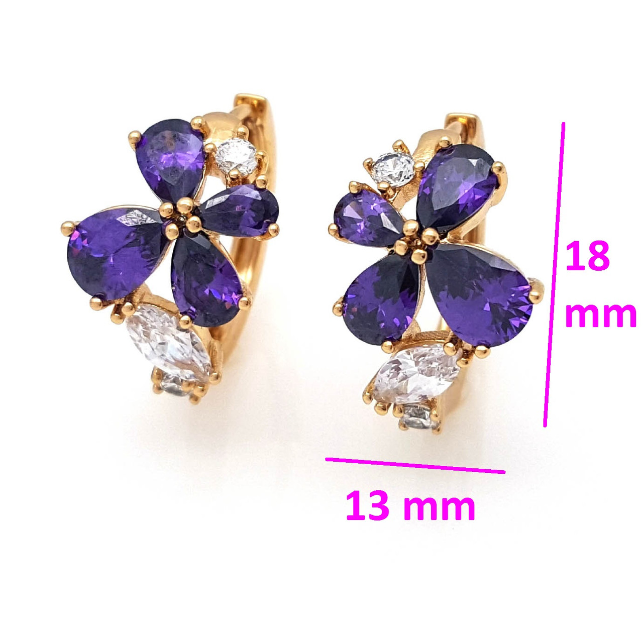 Серьги Бабочка с фиолетовым цирконием, позолота Xuping