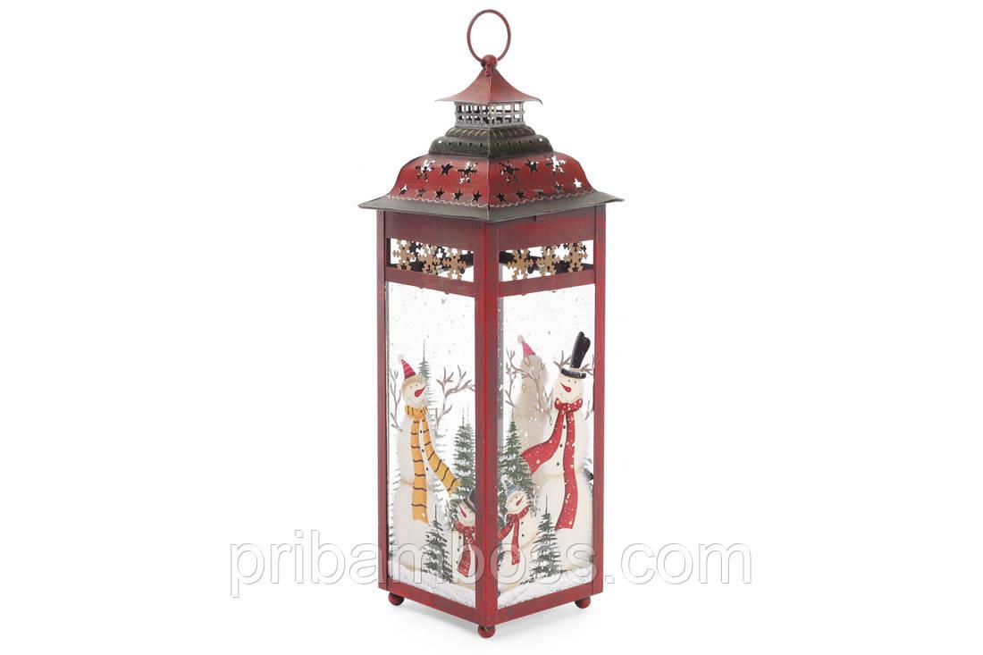Декоративный фонарь подсвечник, 39см, цвет - красный