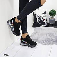 Женские сникерсы черные 5308