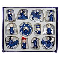 Набор елочных игрушек - деревянные фигурки, 12 шт, 15*12 см, синий, дерево (060047)