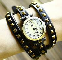 Часы браслет на длинном кожаном ремешке (черный цвет)