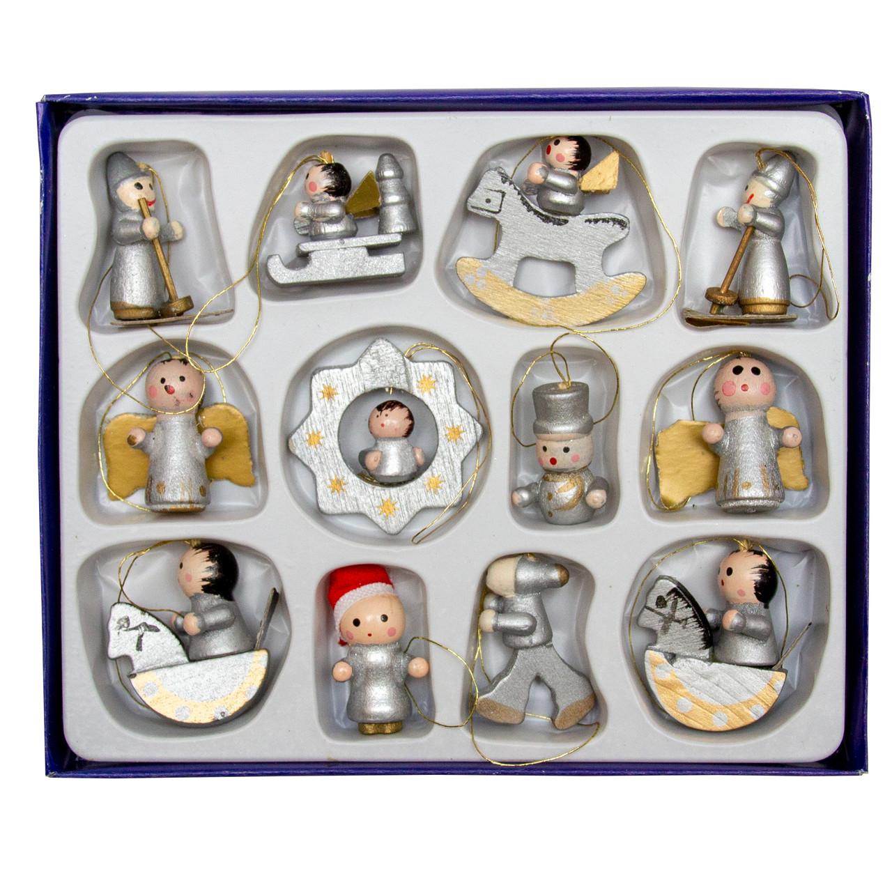 Набор елочных игрушек - деревянные фигурки, 12 шт, 12*15 см, разноцветный, дерево (060054)