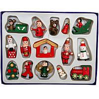 Набор елочных игрушек - деревянные фигурки, 15 шт, 18*14 см, разноцветный, дерево (060214)