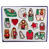 Набор елочных игрушек - деревянные фигурки, 14 шт, 20*15 см, разноцветный, дерево (060221)
