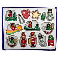 Набор новогодних игрушек - деревянные фигурки, 12 шт, 17*14 см, разноцветный, дерево (060276)