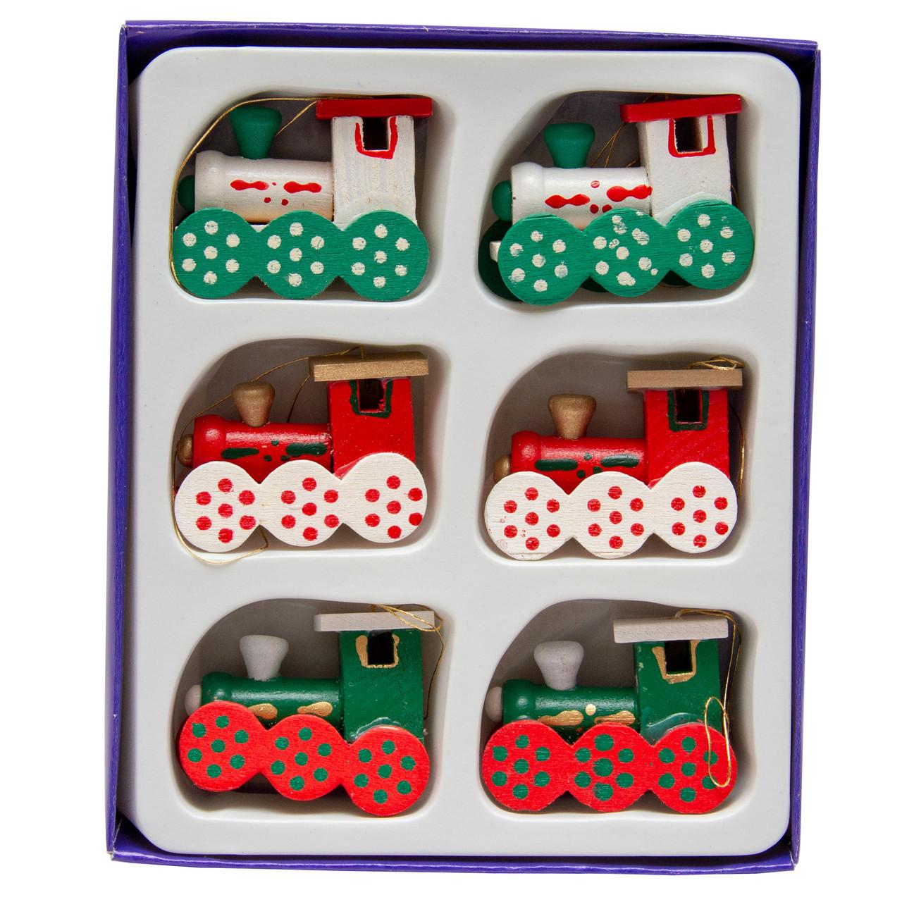 Набор елочных игрушек - деревянные паровозики, 6 шт, 11*14 см, разноцветный, дерево (060290)