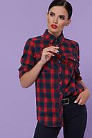 Женская рубашка в клетку, красная, повседневная, классическая