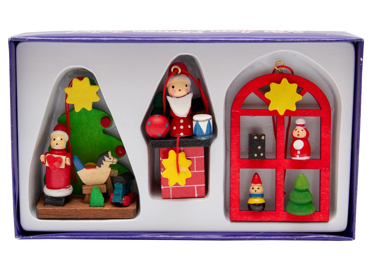 Набор елочных игрушек - деревянные фигурки, 3 шт, 16*9 см, разноцветный, дерево (060337)
