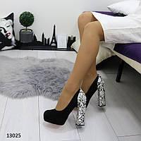 Женские туфли черные с питоном 13025