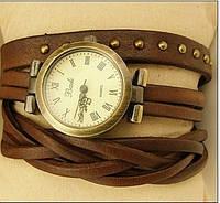 Часы браслет на длинном кожаном ремешке (коса) цвет коричневый