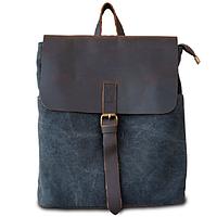 Женская сумка-рюкзак из водоотталкивающей ткани и кожи ручной работы Бурса черная ROOTLESS