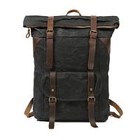 Мужская водонепроницаемая сумка-рюкзак из канвы и кожи ручной работы Вайчак черный ROOTLESS