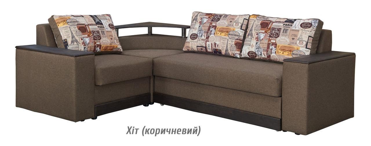 Диван раскладной угловой Сатурн хит (коричневый) Мебель-сервис