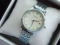 Кварцевые наручные часы Emporio Armani серебристого цвета, стразы на метках, отображение даты, фото 1