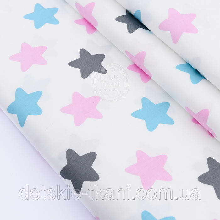 """Сатин ткань """"Звёзды-пряники"""" розовые, бирюзовые, графитовые на белом, №2381с"""