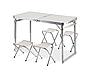 Усиленный Алюминиевый Стол складной для пикника, рыбалки TA 21408 + FS 4 стула белый + зонт