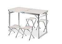 Усиленный Алюминиевый Стол складной для пикника, рыбалки TA 21408 + FS 4 стула белый + зонт, фото 1