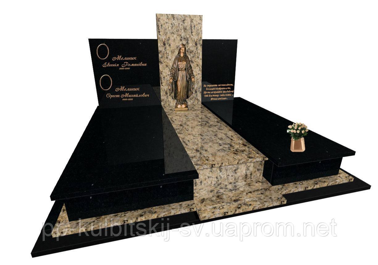 Пам'ятник гранітний подвійний з ритуальною скульптурою  F6102