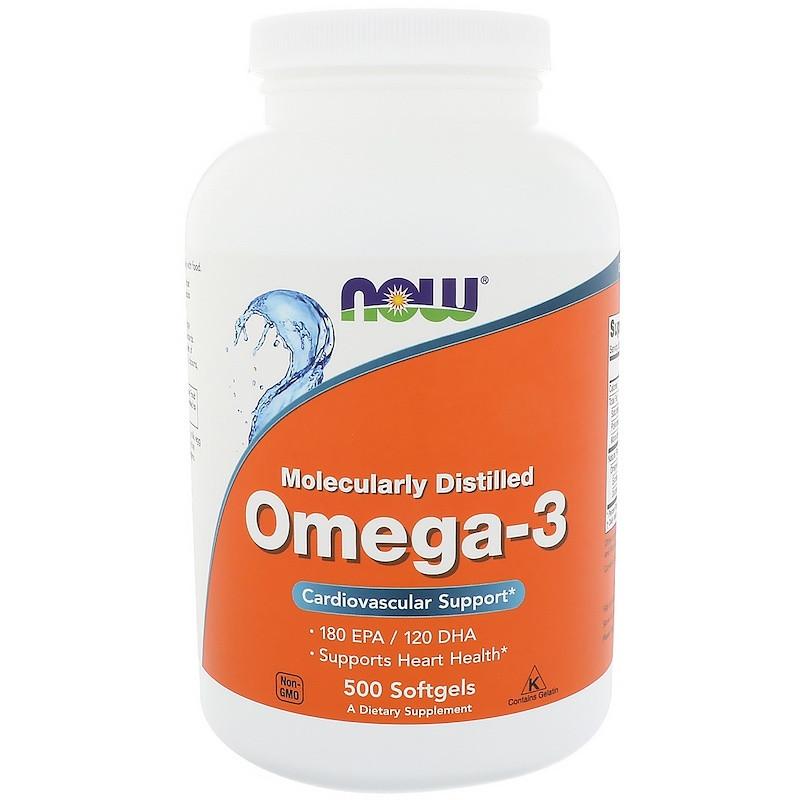 NOW OMEGA 3 (500 капсул)  Рыбий жир -концентрат в капсулах по 1000мг