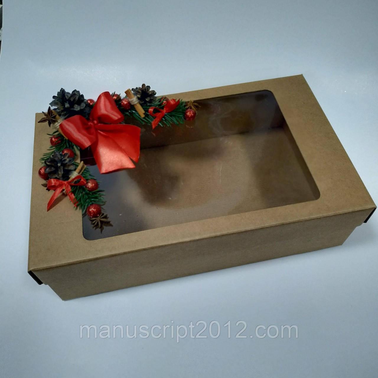 Подарочная  коробка  с  крышкой и новогодним декором 350х210х100 мм.