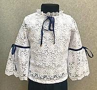 Нарядная блузка для девочек 5-12 лет, белого цвета, школьная, макраме, фото 1