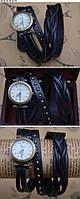 Часы браслет на длинном кожаном ремешке (коса) цвет чёрный