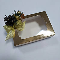 Коробка новогодняя с фигурным окном - золото, фото 1
