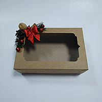 Коробка для подарков крафт 250х170х80 мм с новогодним декором, фото 1