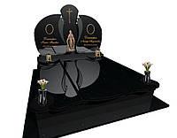 Пам'ятник подвійний з чорного граніту F4584