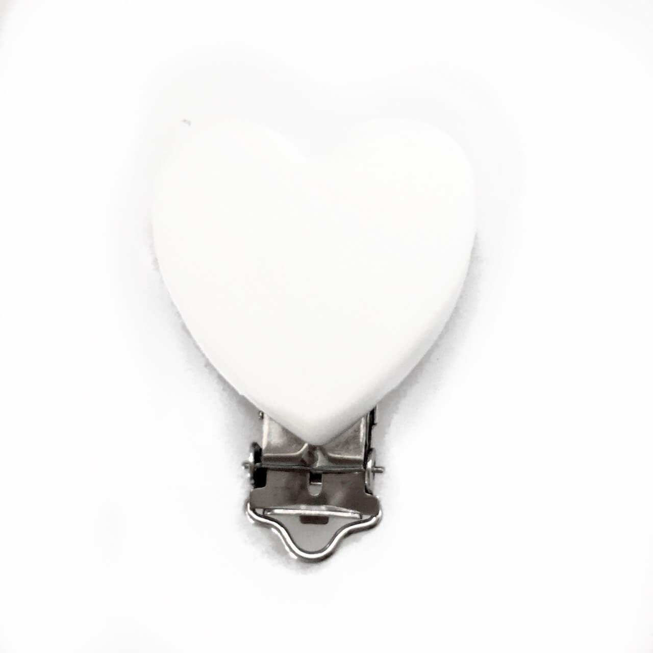 Клипса Сердце (белый) силиконовая для пустышки
