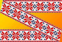 """Схема для вышивки на водорастворимом флизелине """"Орнамент красно-синий"""""""