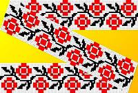 """Схема для вышивки на водорастворимом флизелине """"Орнамент красно-черные розочки"""""""