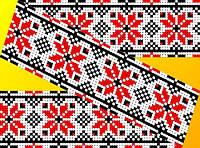 """Схема для вышивки на водорастворимом флизелине """"Узор красно-черные розочки"""""""