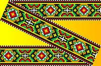 """Схема для вышивки на водорастворимом флизелине """"Орнамент черно-красно-зеленый"""""""