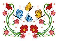 """Схема для вышивки на водорастворимом флизелине """"Узор цветы и бабочки"""""""