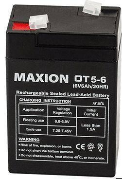 Аккумулятор промышленный  OT MAXION 6- 5  (6V,5A) (серый), фото 2