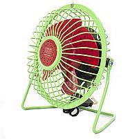 ☛Мини-вентилятор Fan Mini Sanhuai A18 Green + Red USB настольный с регулируемым положением, фото 2