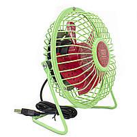 ☛Мини-вентилятор Fan Mini Sanhuai A18 Green + Red USB настольный с регулируемым положением, фото 4