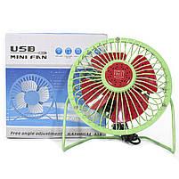 ☛Мини-вентилятор Fan Mini Sanhuai A18 Green + Red USB настольный с регулируемым положением, фото 8
