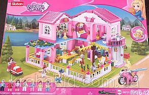 Конструктор Розовая мечта Sluban М38-В0721 Большой загородный Домик (Аналог Lego Friends) 896 детали, фото 2