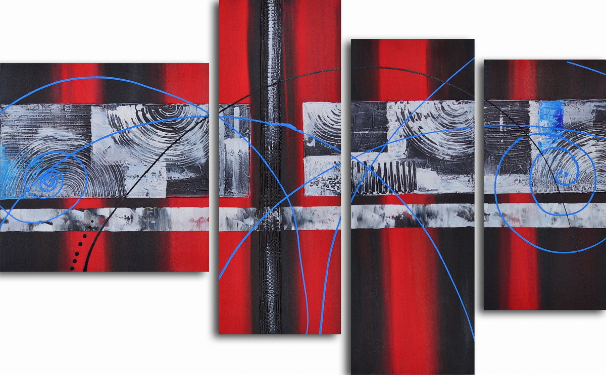Репродукция модульной картины полиптих «Геометрическая симфония с голубым »