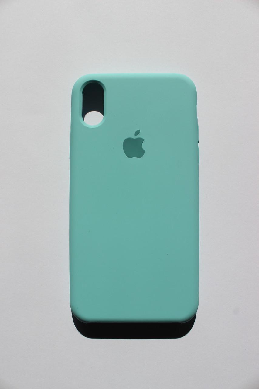 Чехол накладка для iPhone X Silicone Case светло голубой (бирюзовый)