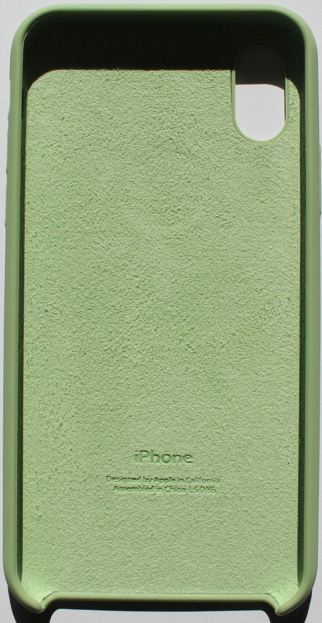 Чехол накладка для iPhone X Silicone Case зеленый
