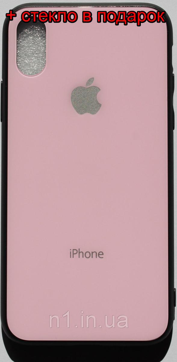 Стеклянный Защитный Чехол Iphone X розовый / накладка айфон 10 бампер стеклянный