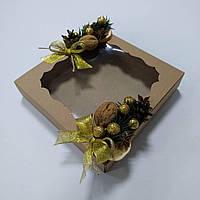 Коробка для подарков с новогодним декором 160х160х35 мм , фото 1