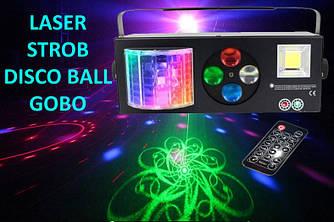 Светодиодный прибор с пультом ДУ 4в1 для дискотек, клубов и шоу (лазер, стробоскоп, трафарет, диско шар)