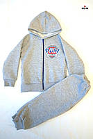 Дитячий костюм теплий на блискавці сірий трьехнитка 26-30р.