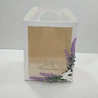 """Коробка для кулича, пряничных домов и подарков с декором  """"Лаванда"""" (160*160*190 мм)"""