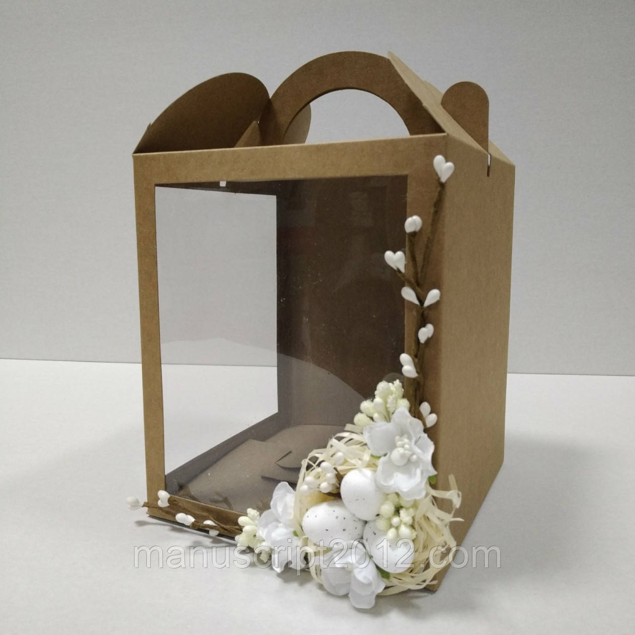 Коробка для кулича, подарков и пряничных домов с декором (160*160*190 мм)