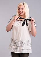 Блуза белая с черной вышивкой, на 56-60 размеры